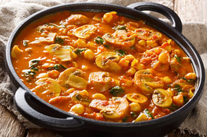 Curry de Champiñones y Espinacas