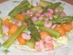 Ensalada de Esparragos, Camarones y Melon.
