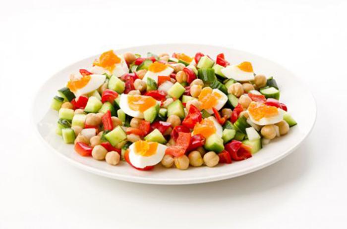 Ensalada de Garbanzos, Vegetales y Huevo