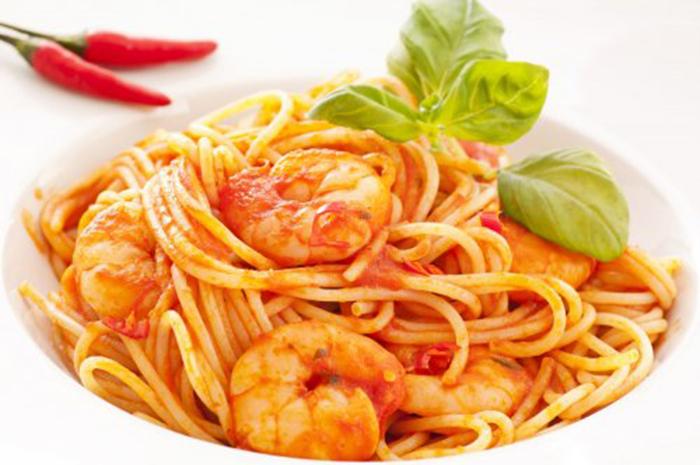 Espaguetis Diablo con Gambas