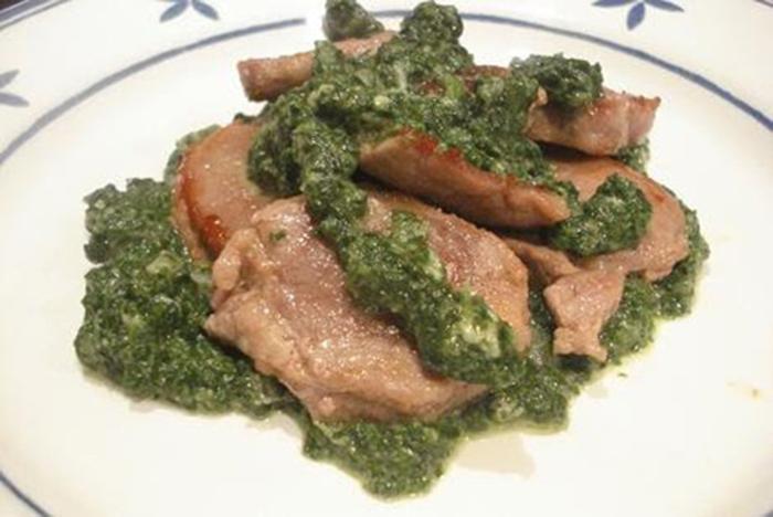 Filetti di maiale con spinaci e gorgonzola (Medallones de cerdo con espinacas y gorgonzola)
