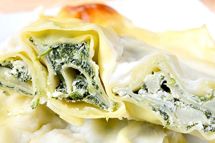 Lasaña con Ricotta, Espinacas y Mozzarella