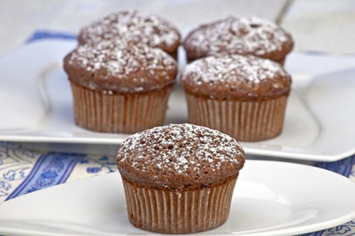 Magdalenas de Chocolate con Azúcar Glas