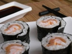 Maki Sushi de Gambas y Salmon.