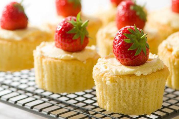 Muffins de Vainilla con Fresa