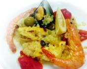 Paella de pescado con Arroz de Konjac