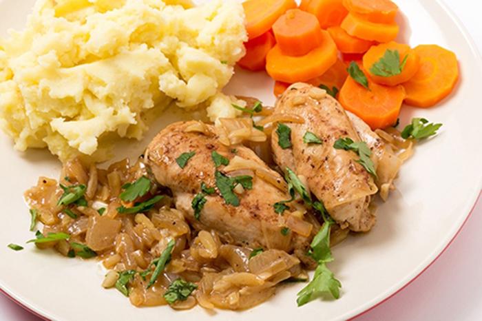 Pechugas de Pollo en Salsa de Almendras, Cebolla y Vino