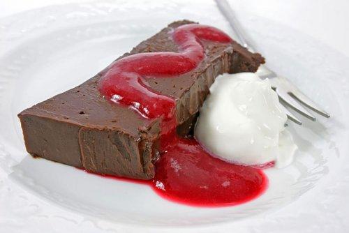 Puding de Chocolate con Salsa de Frambuesa