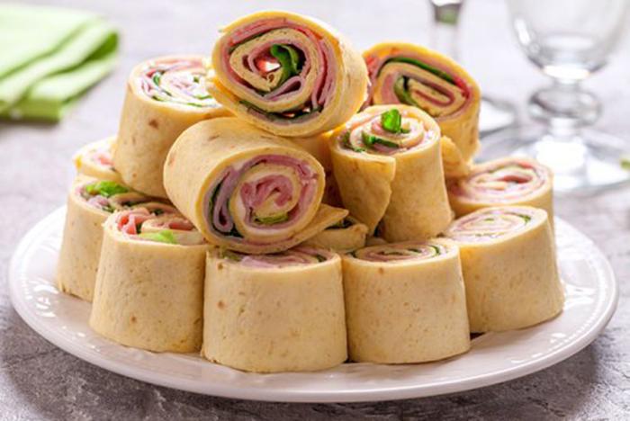Rollitos de Tortilla, Jamón y Queso