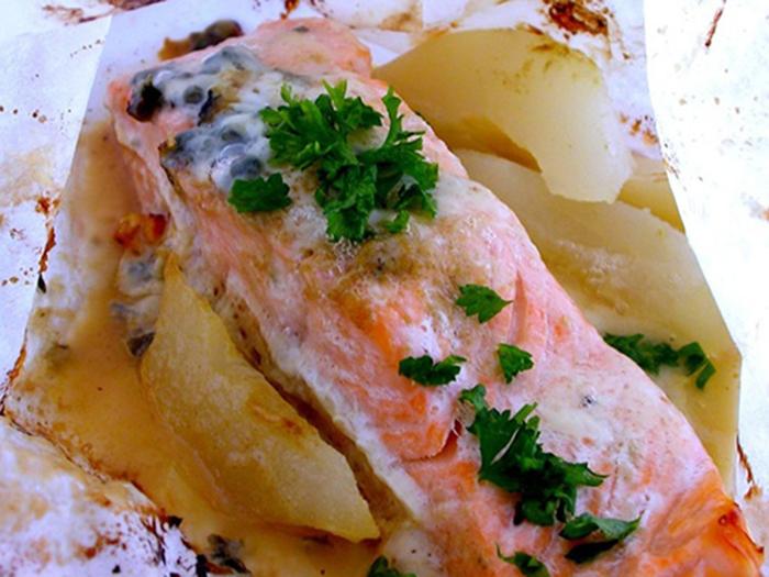 Salmon al Roquefort (en Papel de Aluminio).