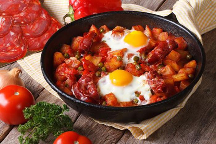 Sartén de Huevos Fritos con Chorizo