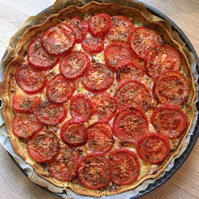 Tarta de Tomate, Queso Emental y Mostaza.