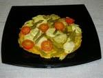 Tortilla de Alcachofas, Esparragos y Tomate