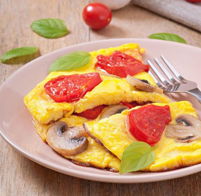 Tortilla de Tomates y Champiñones