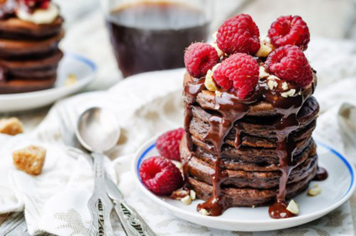 Tortitas con Chocolate y Frambuesas