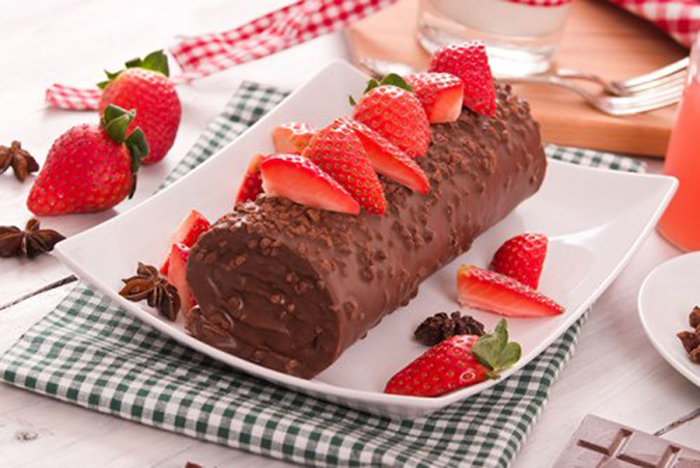 Tronco de Chocolate con Fresas